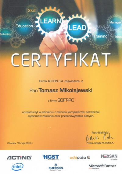 Certyfikat ACTINA Serwery