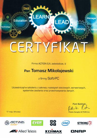Certyfikat ACTINA Solar rozwiązania sieciowe i zasilanie