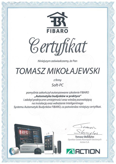 Certyfikat Fibaro System