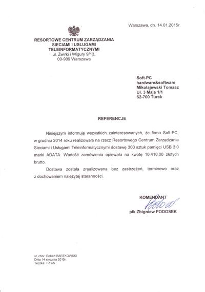Referencje RCZSiUT w Warszawie