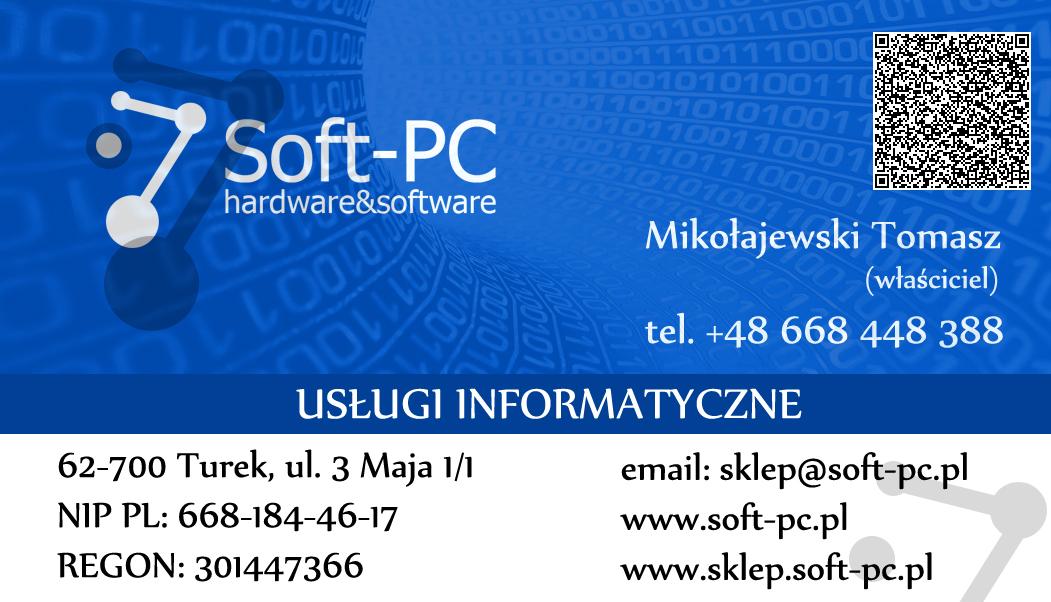 Wizytówka Soft-PC (przód)
